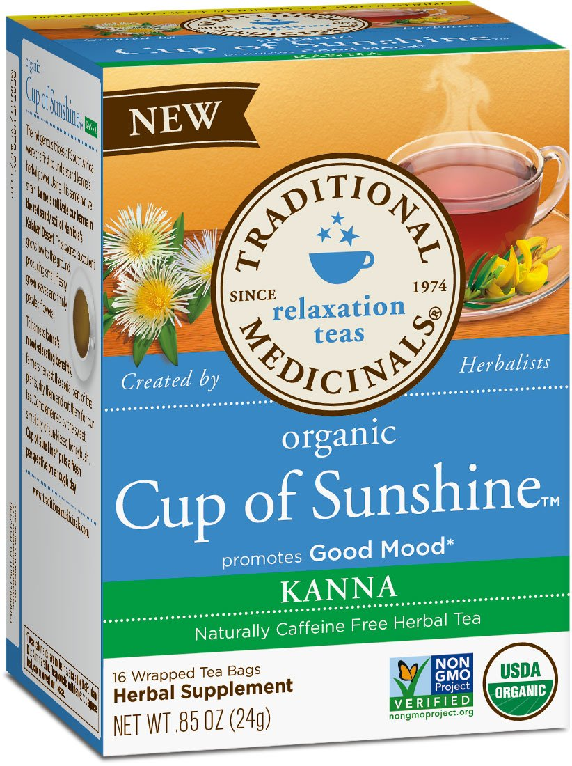 Traditional Medicinals Organic Cup of Sunshine Kanna Relaxation Tea, 16 Tea Bags (Pack of 6)