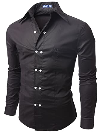 Doublju Men's Long Sleeve Double Button Casual Dress Shirt, Black ...