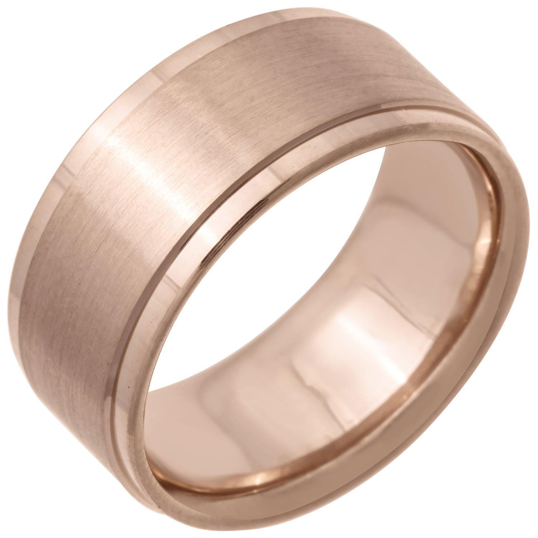 14K Rose Gold Top Flat Women's Comfort Fit Wedding Band (9mm) Size-5c1
