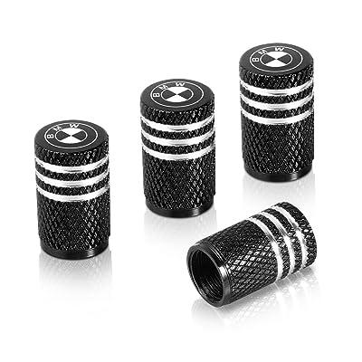 Flow.month Valve Stem Caps,Tire Caps Replacement for BMW Accessories Car,Motorbike,Trucks Aluminum 4pcs (Black): Automotive