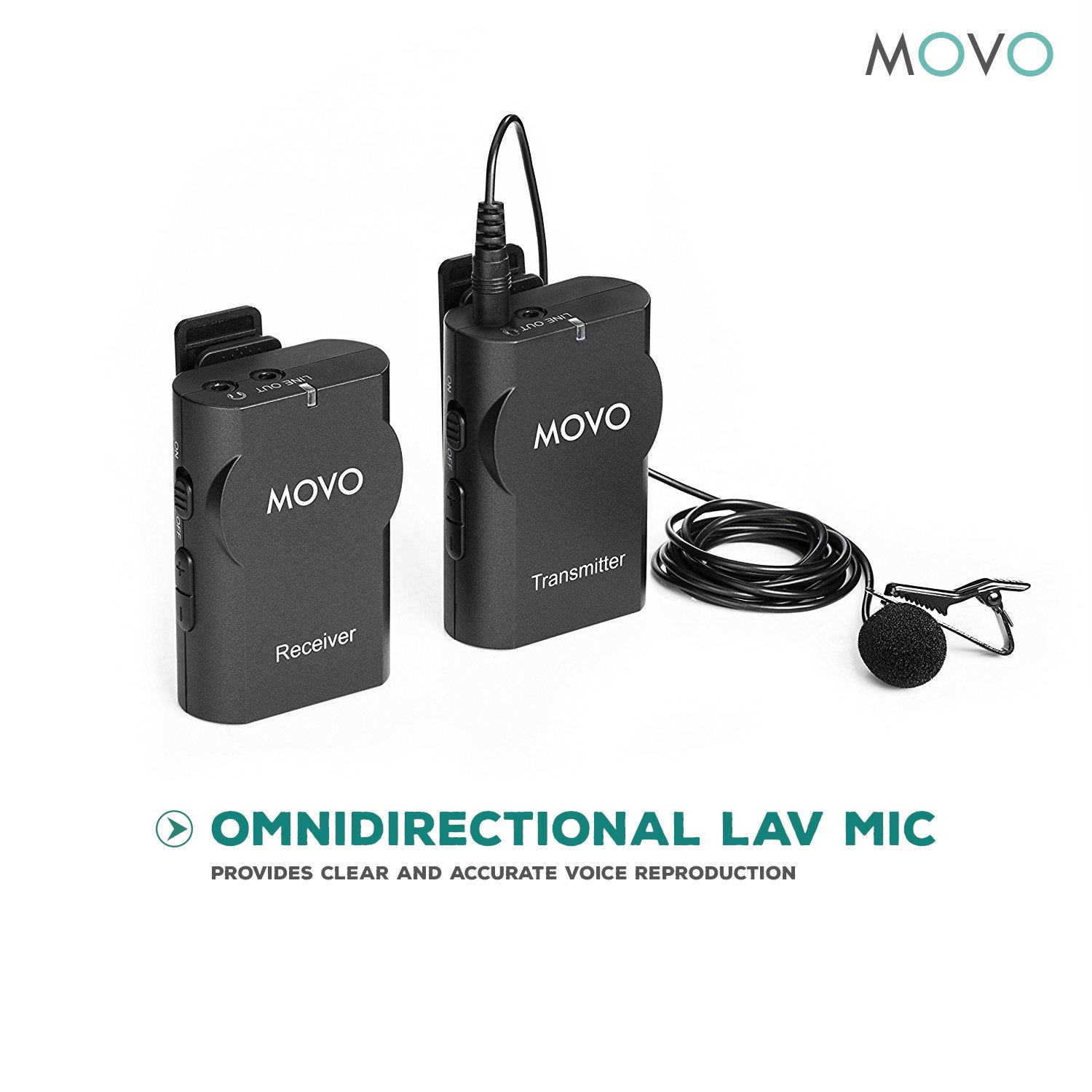 Movo WMIC10 2.4GHz Wireless Lavalier Microphone System for DSLR Cameras, iPhone/iPad/Android Smartphones, Camcorders (50-foot Transmission Range) by Movo (Image #5)