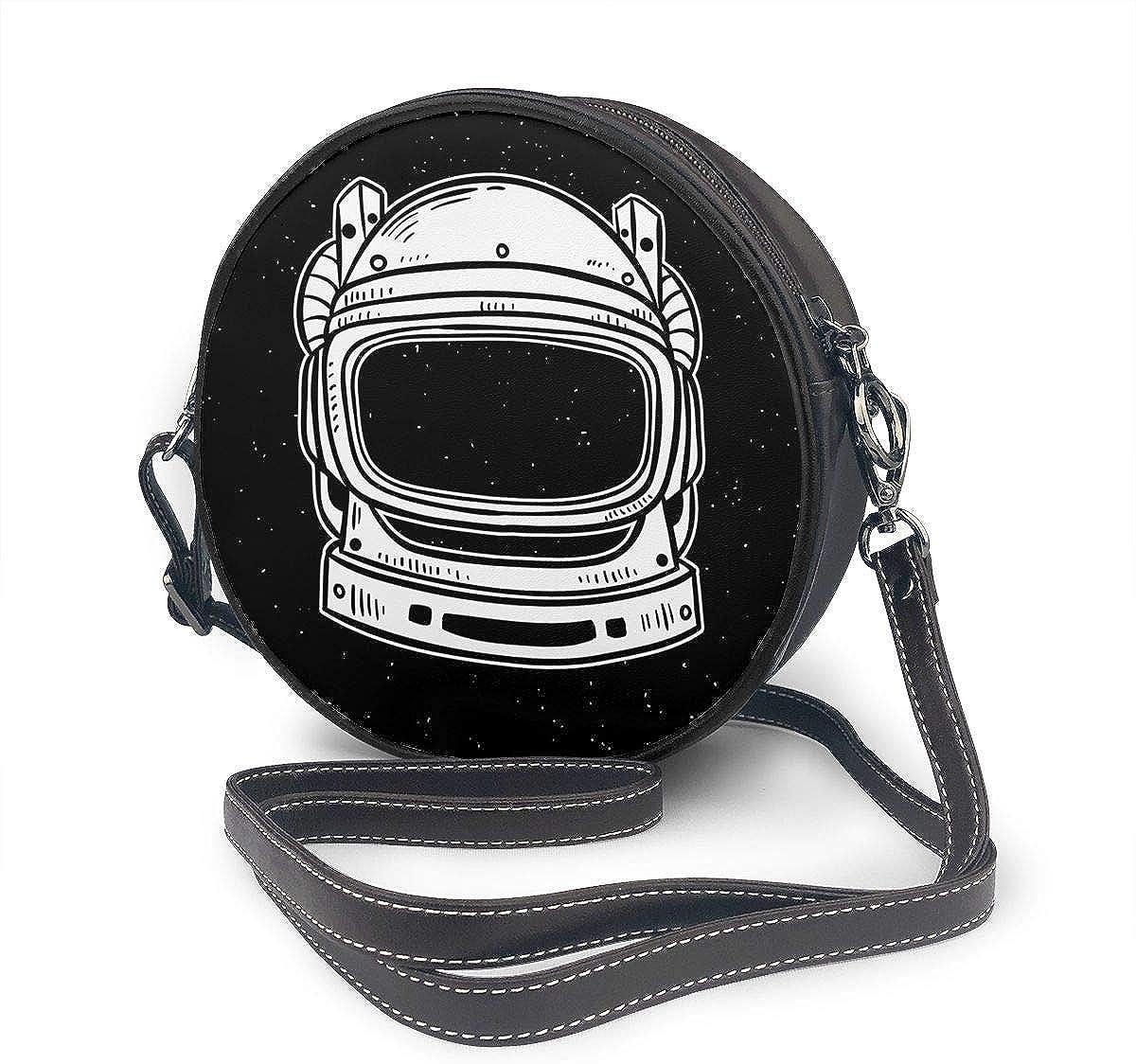Circular Leather Shoulder Bag,Zipper Crossbody Purse Handbag Bag For Womens Grils Astronaut Space Doodle
