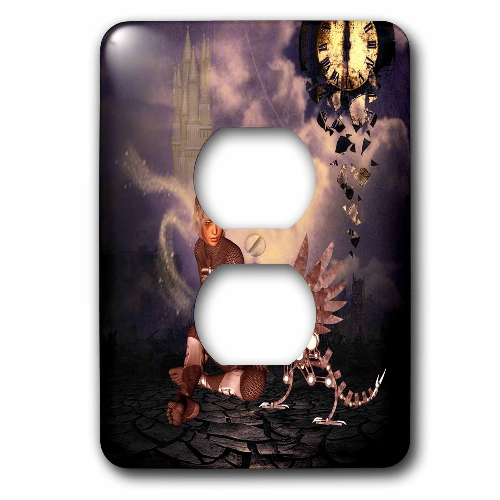3dRose Heike Köhnen Design Steampunk - Steampunk dragon with steampunk women - Light Switch Covers - 2 plug outlet cover (lsp_264533_6) by 3dRose