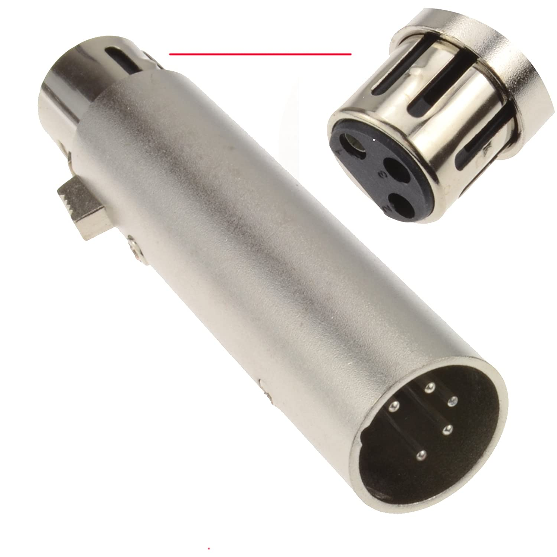 kenable 5 Pin DMX Plug to 3 Pin XLR Female Plug Audio & Lighting Adapter 004039