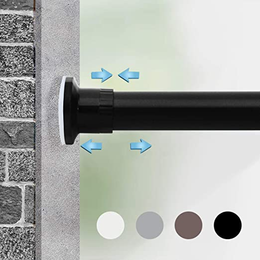 Amazon Com Moyeno Adjustable Spring Window Curtain Rod Tension Room Divider No Drill Curtain Rod Expandable Extra Long Curtain Rod Outdoor Blackout Heavy Duty Tension Rod Bathroom Black 120 150 Inches Home