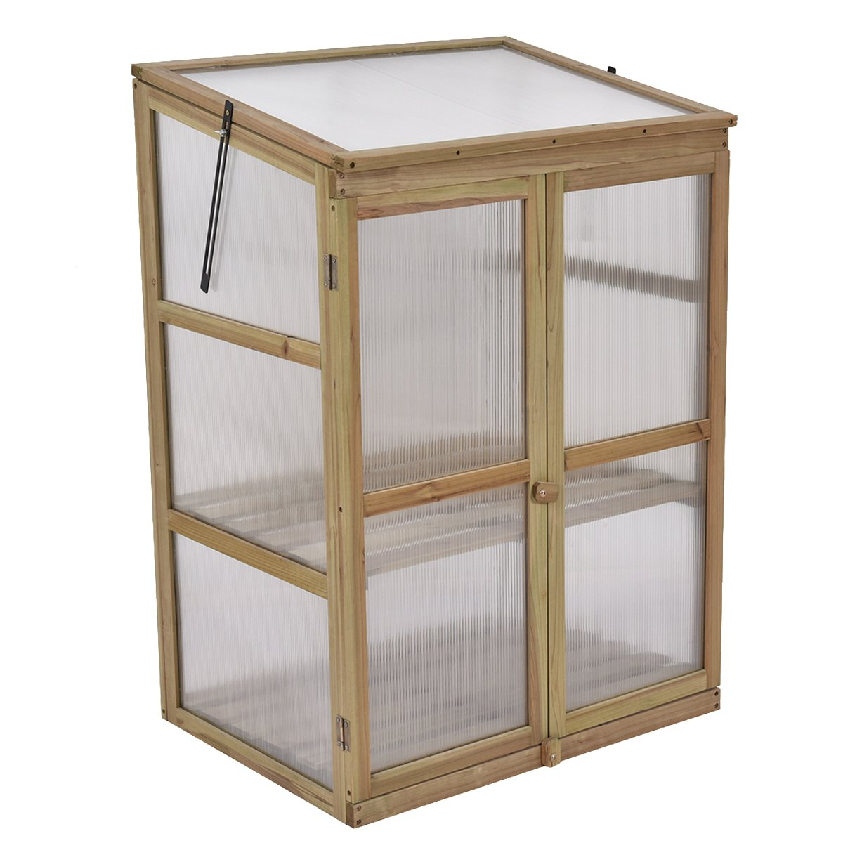 Giantex Garden Portable Wooden Cold Frame Greenhouse Raised Flower Planter Protection (30.0''X22.4''X42.9'')