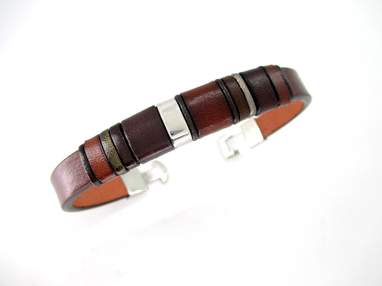 Singular pulsera cuero marrón, Regalo personalizado hombre, cumpleaños, aniversario, accesorio hecho mano, unisex ...