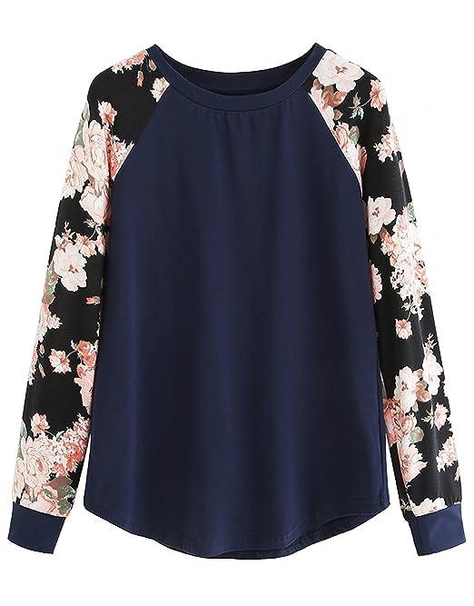 Mujer Camisetas Manga Larga Elegante Moda New Look Tops Impresión Floral Patchwork Básicos Blusas Fiesta Sudaderas