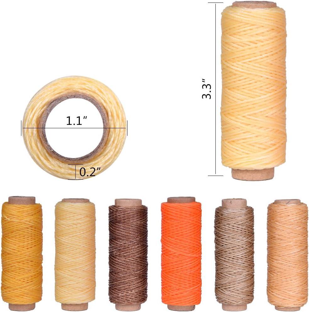 hotgod 6pcs 50 Meter hilo de cera encerado Cordón de cuero 1 mm Craft para herramienta de bricolaje costura: Amazon.es: Hogar