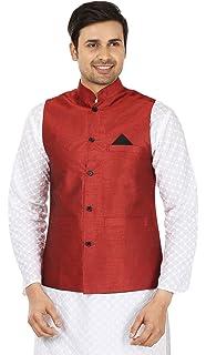 9947a9a29eb Maple Clothing Mens Sleeve Less Silk Nehru Jacket Traditional India  Waistcoat