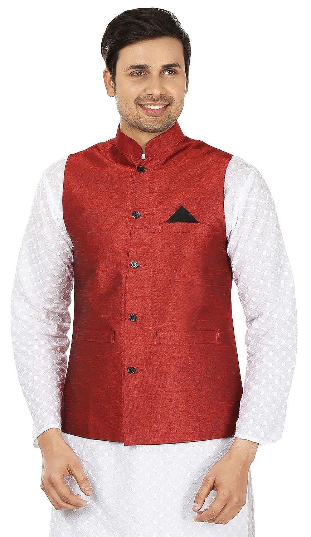 Maple Clothing Mens Sleeve Less Silk Nehru Jacket Traditional India Waistcoat njkt-slk-kmp