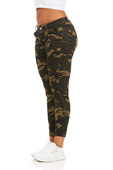 Cover Girl Women\'s Camo Print Skinny Jeans Joggers Cargo Lace Leg