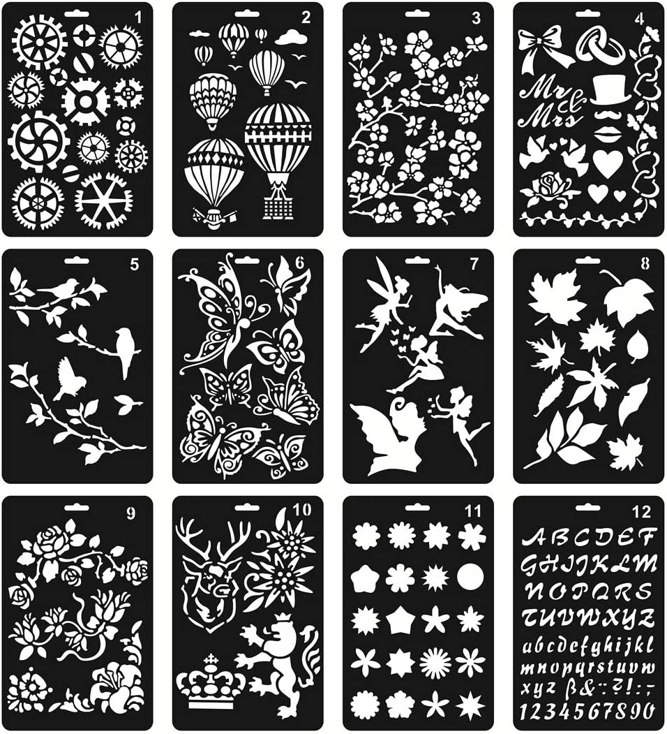 12Pcs Bullet Journaling Stencils for Crafts 5.7x9.6 Inches Plastic Stencils for Painting