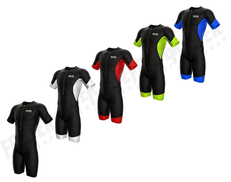 Foxter Men s Performance Sleeved Triathlon Suit Short Sleeve Tri Suit Swim- Bike-Run (Black Neon Green 1d25b7287
