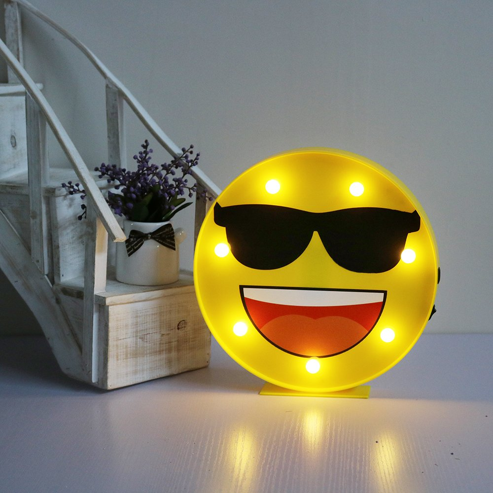 DELICORE Marquee Emoji Sign Funny LED Table Lamps Night Lights For Children Kids Bedroom Wall Decor Battery Operated & USB Charging (Sunglasses)