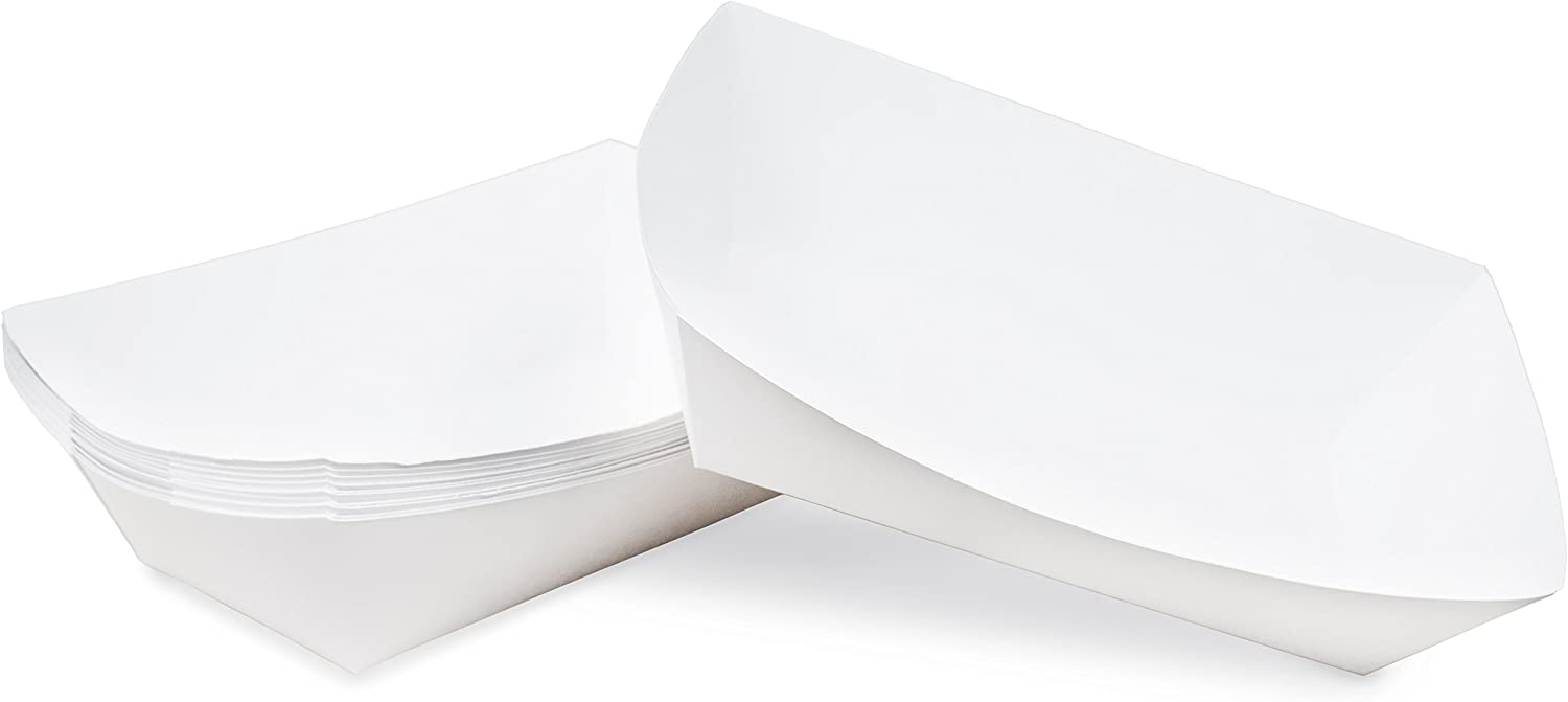 5 lb White Disposable Paper Food Tray for Carnivals, Fairs, Festivals, Concession Stands, Food Trucks (White - extra large 5 lb, 25 pack)