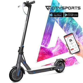 CITYSPORTS Scooter Eléctrico 8.5 Pulgadas, Patinete Eléctrico Plegable con App & Bluetooth, Batería 7.5Ah Larga Vida, 350W, Scooter Eléctrico Adulto ...