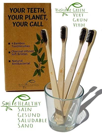 4 Cepillos de dientes de bambú orgánico-Alternativa natural y ecológica al plástic-Hilos