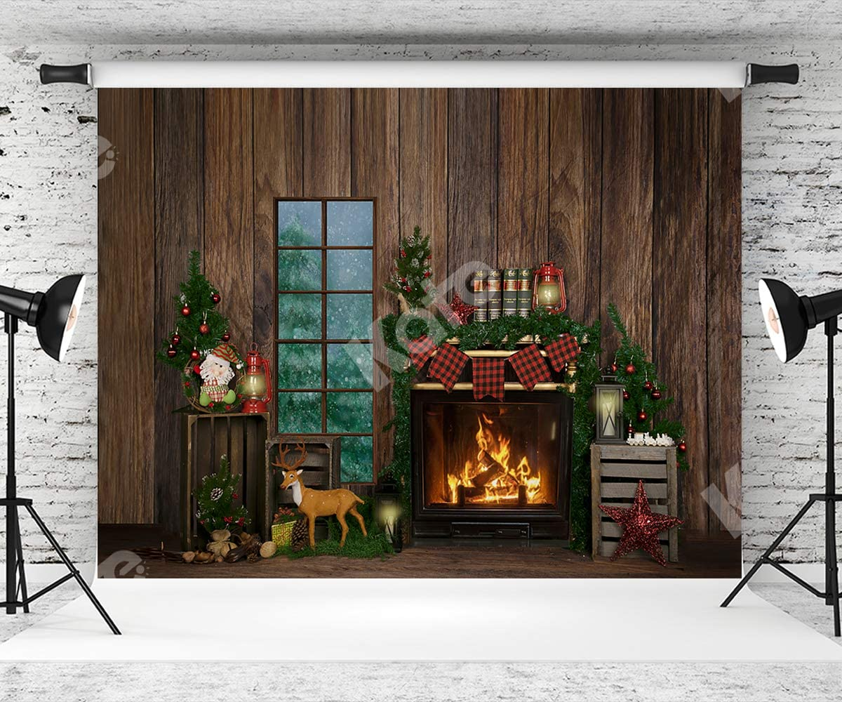 Kate 10×6.5ft Christmas Photography Backdrop Dark Wood Fireplace Christmas Deer Xmas Background for Christmas Happy New Year Decoration Photography