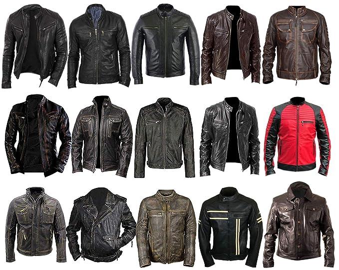 Amazon.com: Chaqueta de piel para hombre, estilo vintage ...