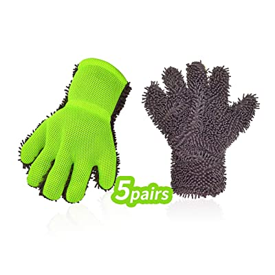 Vgo... 5Pieces Car Washing Gloves(One Size Fits All, Fluorescent Green, CT7676): Automotive