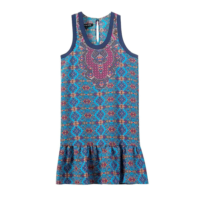 2016 Summer Coachella Vintage Navy Blue Vestido Tank Dress