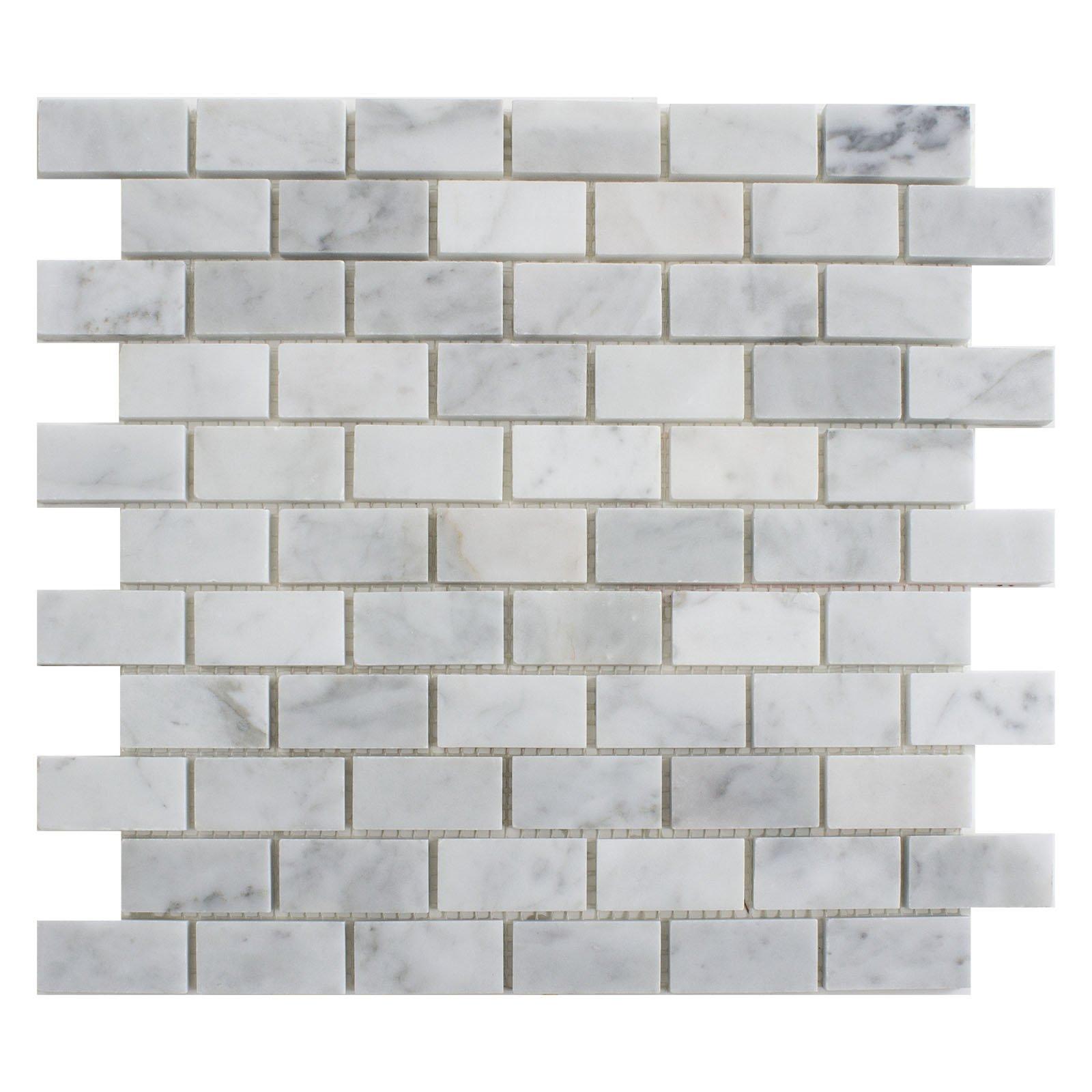 Carrara White Marble Mosaic Tile, CWMM0102-H, Chip Size 1''X2'' Brick, 12''X12''X5/16, Honed (Box of 5 Sheets)