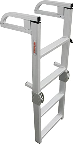Aluminum 4-Step Compact Folding Pontoon Boat Swim/Boarding Ladder [Extreme Max] Picture