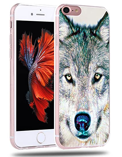 outlet store 450a1 06a66 Case for iPhone 7 Wolf - Case for iPhone 8 Wolf - CCLOT Flexible Cover  Protector Compatible Replacement for iPhone 7 & 8 Hand Painting Wolf Animal  ...