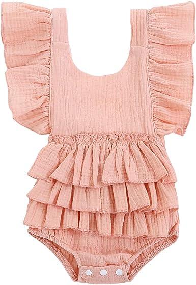 Newborn Infant Baby Girl Cotton Romper Bodysuit Jumpsuit Outfits Clothes Sunsuit