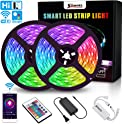 SOLMORE 32.8-feet WiFi RGB LED Rope Strip Lights with Remote