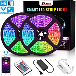 LED Strip Lights,SOLMORE WiFi LED Light Strip 10M 32.8Ft RGB 5050 LED Tape Lights RGB Rope Lights Waterproof Color Changing LED Strip Lights with Remote for TV Bedroom Party Home Lighting Kitchen Bar