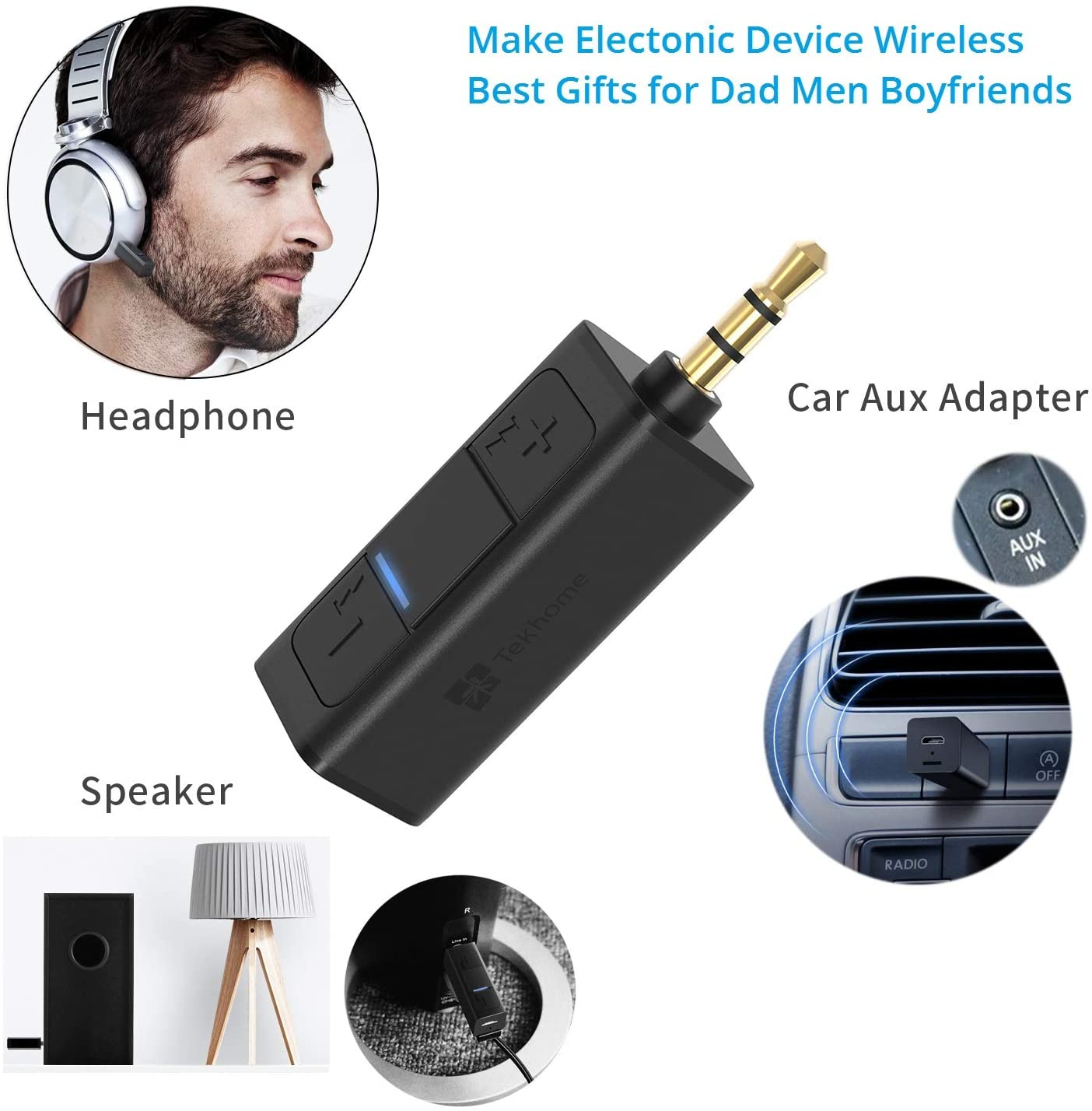 Bluetooth Receiver,TekHome Aux Bluetooth Adapter for Car, Mini Small Bluetooth Receiver for Home Stereo Speaker,Useful Gifts for Men Dad Boyfriend Husband.: Electronics