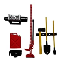 1/10 RC Rock Crawler Scale Accessory Set W/ Gas Can, Winch, Jack, Shovel, Axe, & Pry Bar Apex RC Products #4053