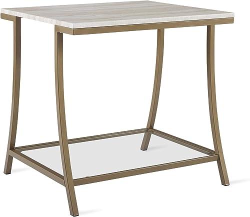 Novogratz Cecilia Side Table, Soft Brass, Faux Marble