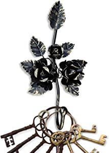 Key Holder for Wall Décor - Decorative Hook - Wall Key Holder. Shabby Chic Décor French Accent Towel Hooks (Black & Gold)