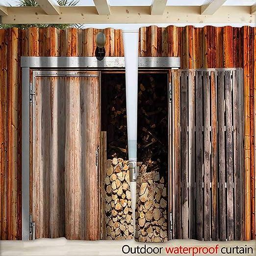 warmfamily - Puerta corredera para Patio, Estilo rústico, Estilo Vintage, diseño Rural arquitectónico, 108 x 96 cm, Color marrón: Amazon.es: Jardín