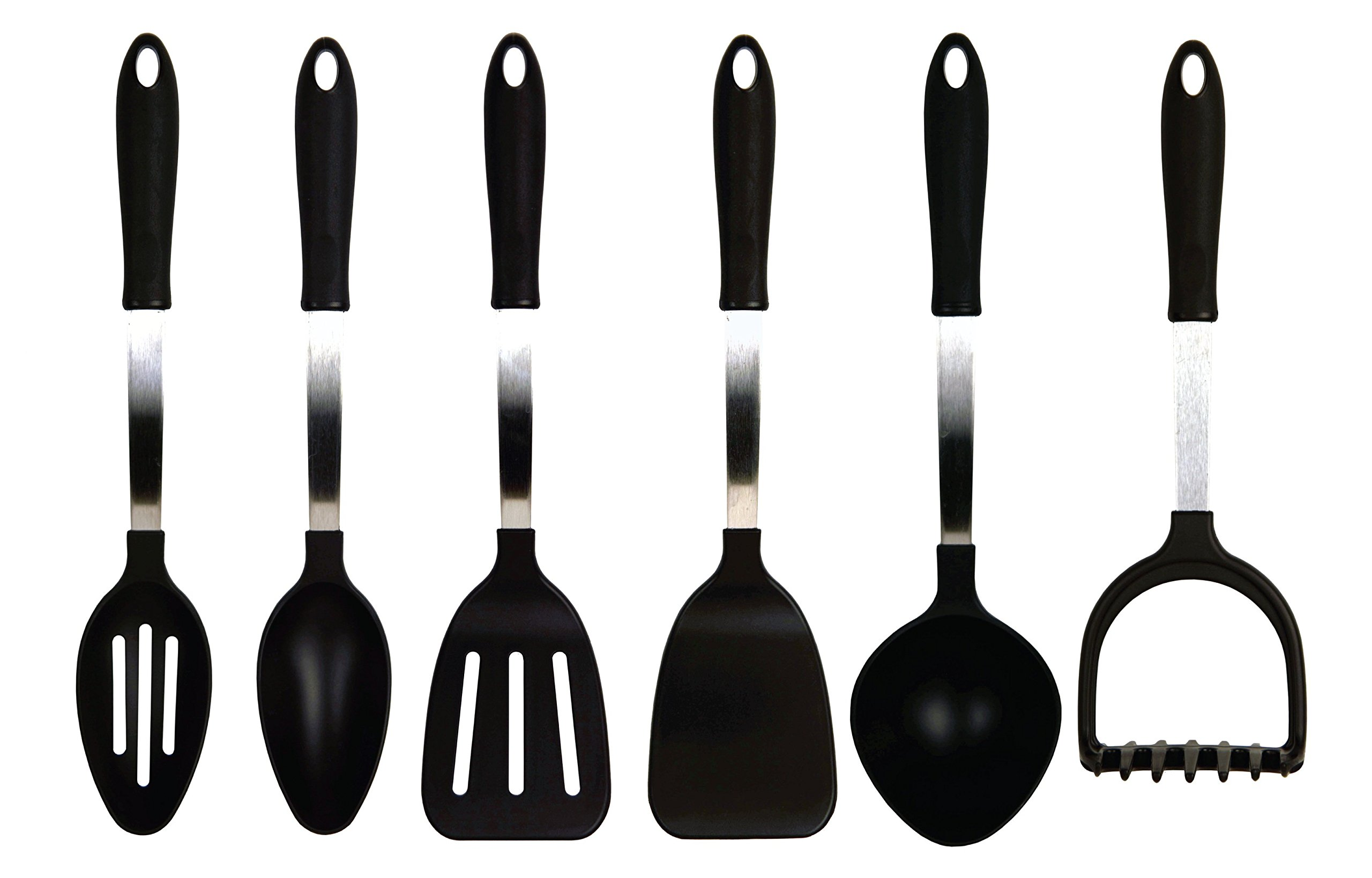 Tailor Made Products 6 Piece Stainless Steel Nylon Utensil Set, Black/Silver