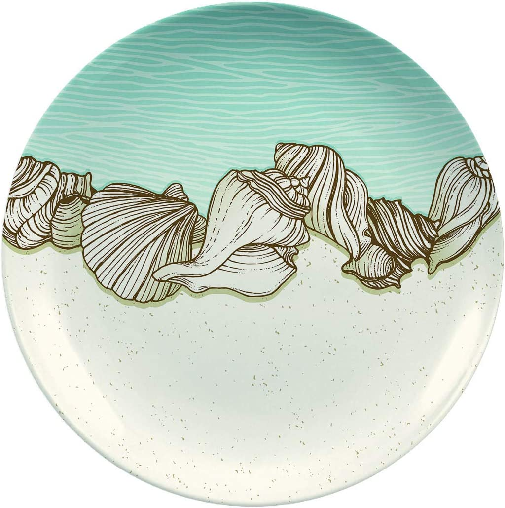 Ceramic Stoneware Dinner Plates,Seashells On A Beach Border,dinner Plates For Everyday Use,break-resistant And Lightweight,10 Inch 6 Piece Set