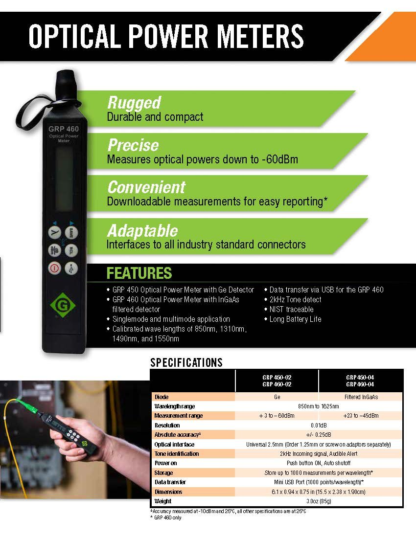 Greenlee GRP 460-04 Fiber Tools Optical Power Meter with InGaAs Filtered Detector by Greenlee (Image #7)