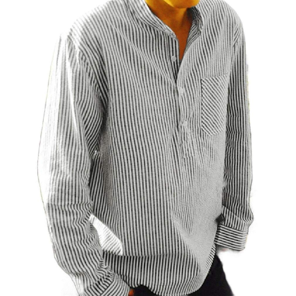 Mfasica Men Button Up Casual Stand Collar Stripes Long Sleeves Dress Shirts