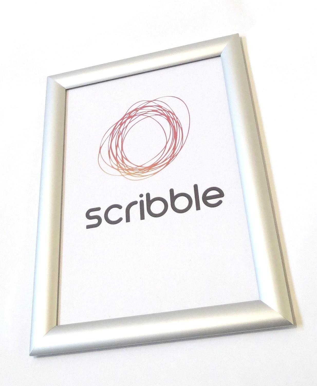 Un classico poster/scatto per certificato, telaio, telaio in alluminio anodizzato argento, 25mm., A2 Scribble
