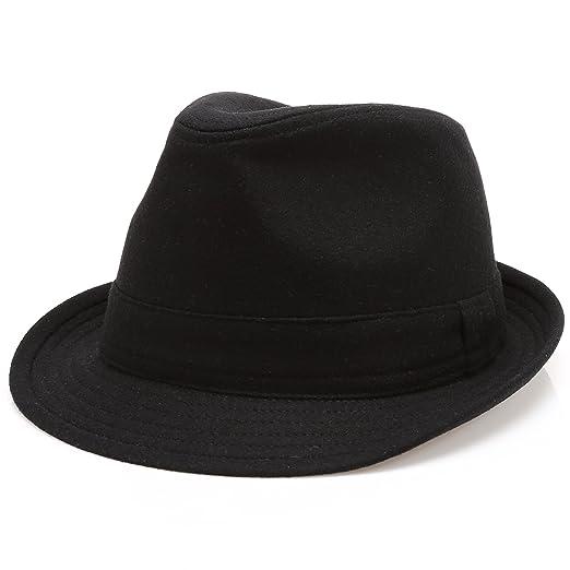 MIRMARU Men s Wool Blend Short Brim Trilby Fedora Hat with Band(Black ... 5b003e772ebe