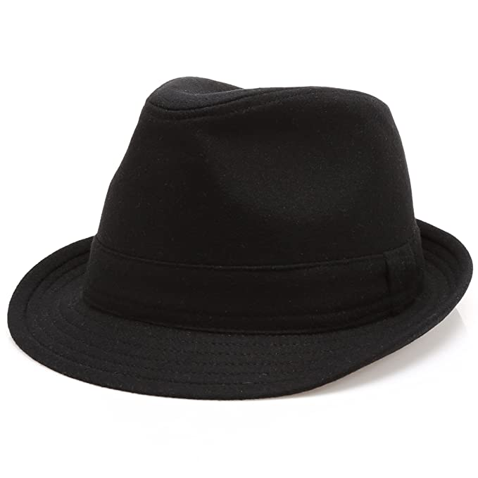 e6f8bf11c07 MIRMARU Men s Wool Blend Short Brim Trilby Fedora Hat with Band(Black ...