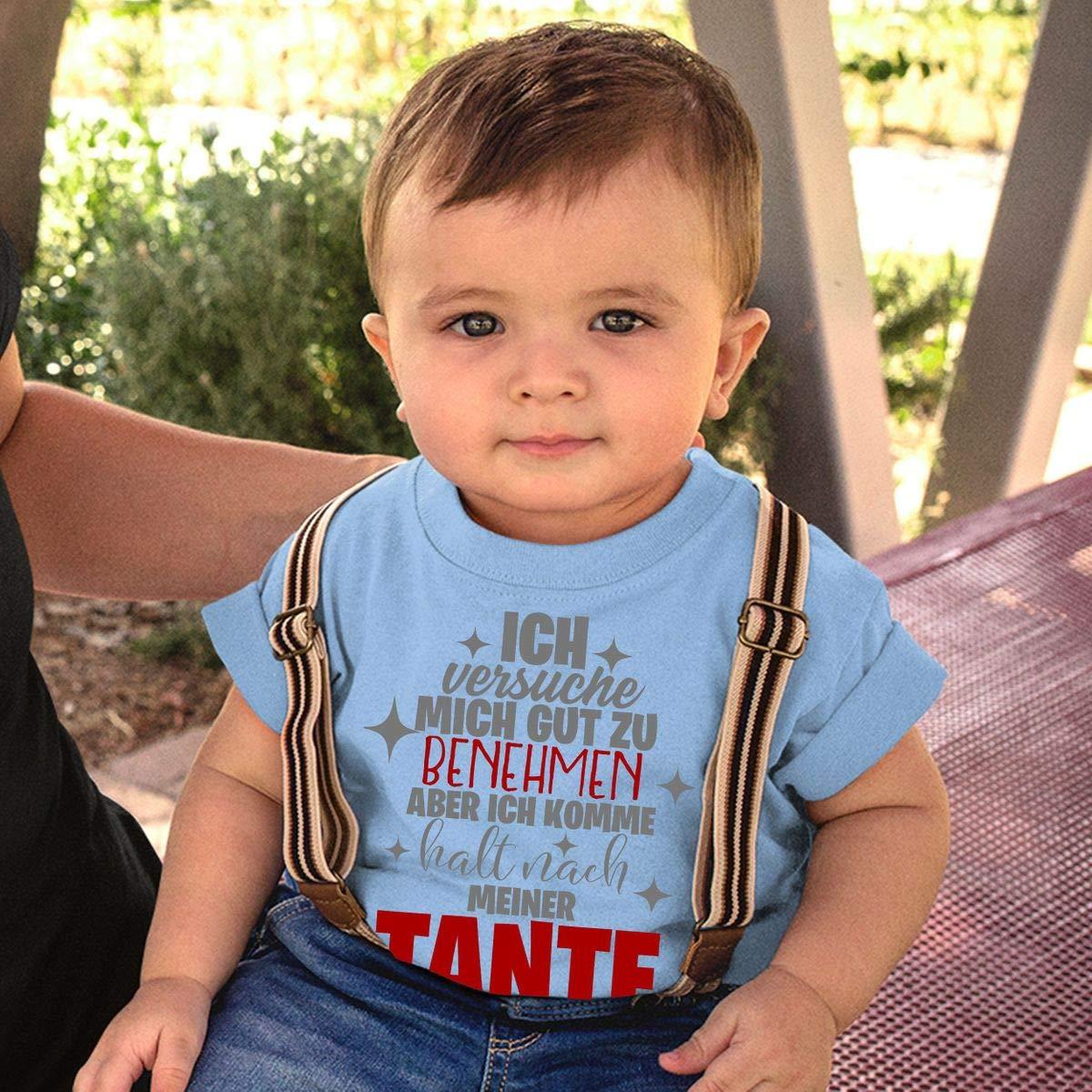 handbedruckt in Deutschland Handmade with Love Mikalino Baby//Kinder T-Shirt mit Spruch f/ür Jungen M/ädchen Unisex Kurzarm Ich versuche Mich gut zu benehmen