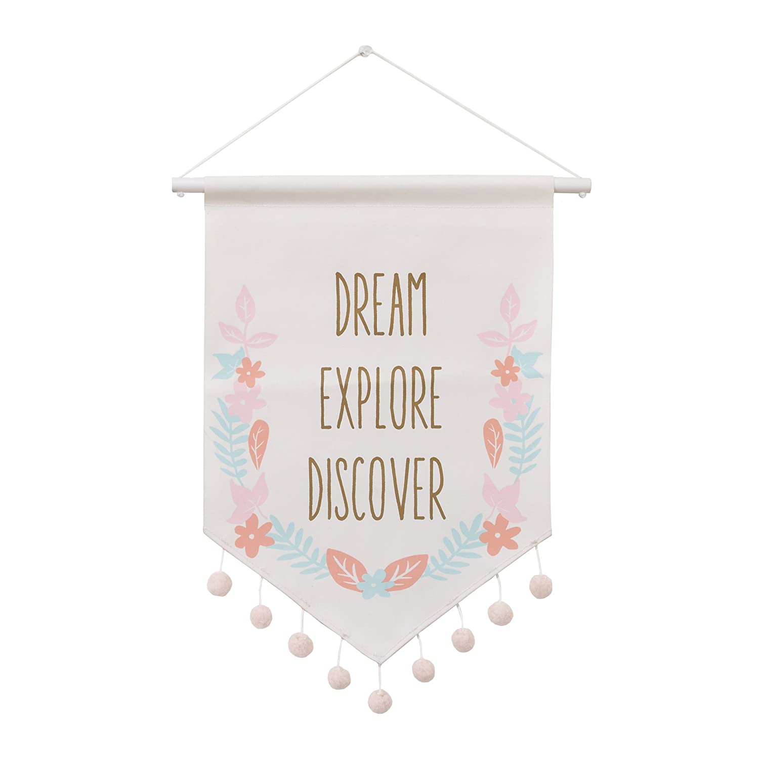 Carter's Woodland Meadow Dream/Explore/ Discover Floral Hanging Wall Banner Decor/Pink/Aqua/White Crown Crafts Infant Products 3190191