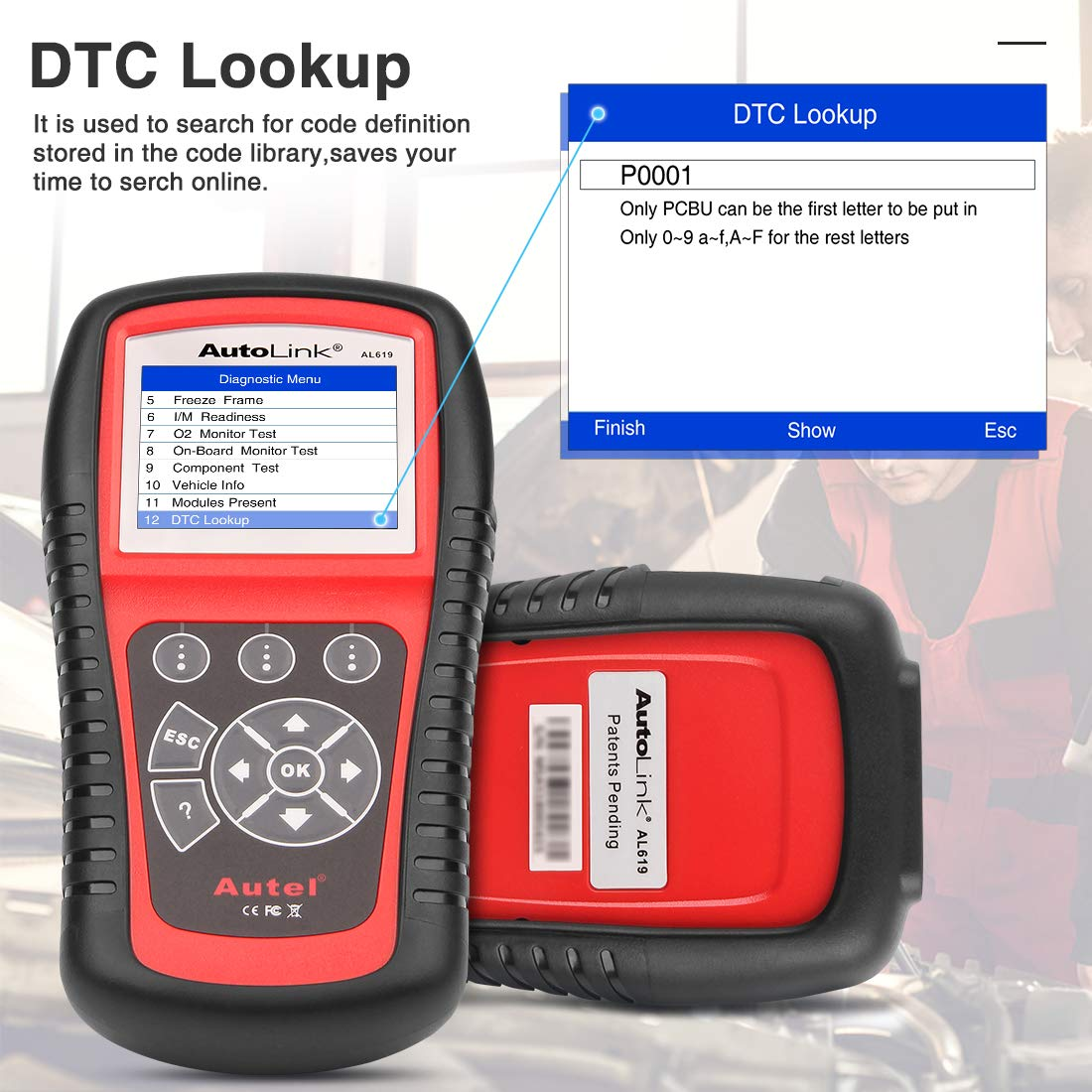Autel AutoLink AL619 OBD2 Scanner ABS/SRS Diagnostic Scan Tool,Turns Off Engine Light (MIL) and ABS/SRS Warning Lights,Same Function as The ML619 Code Reader by Autel (Image #5)