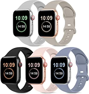 5 Pack Bands Compatible with Apple Watch Band 38mm 40mm, Soft Silicone Sport Replacement Strap Compatible with iWatch Series 6 5 4 3 2 1 SE Women PinkSand/Stone/Lavender Gray/Black/Gray 38mm/40mm S/M
