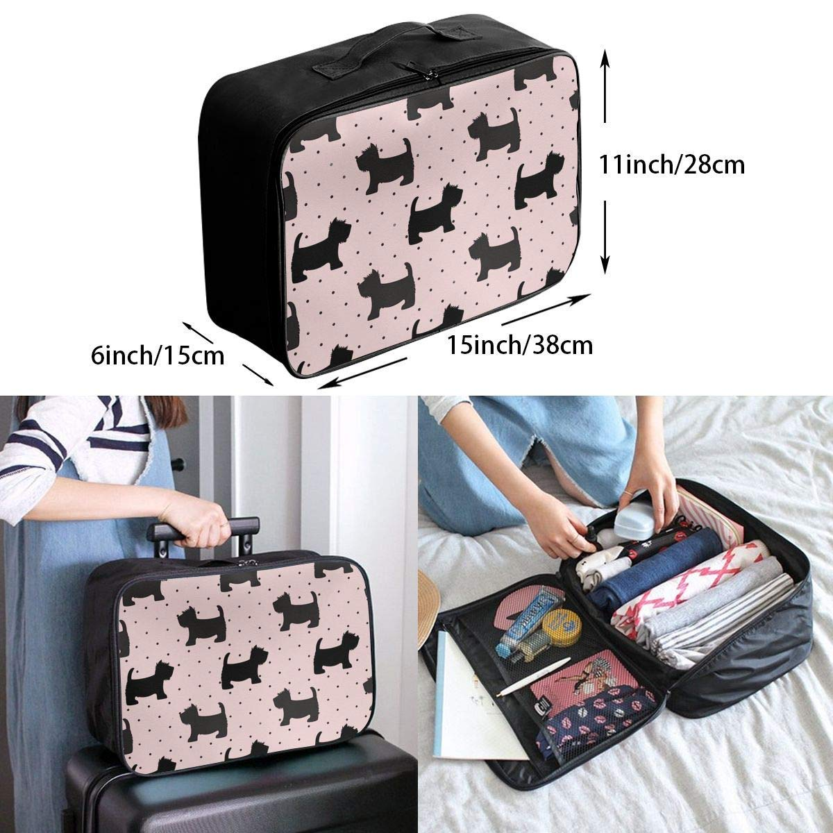 JTRVW Luggage Bags for Travel Portable Luggage Duffel Bag Covered with Snow Cat Travel Bags Carry-on in Trolley Handle
