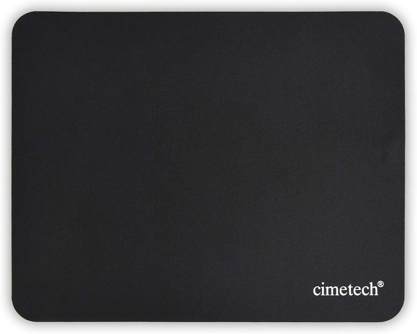 cimetech Alfombrilla de Ratón, Fibra Extrafina Alfombrilla para Computadora con Base de Goma Antideslizante, para Ratón con Cable o Inalámbrico PC/Mac, 23x18x0.1cm, Ultradelgado Negro